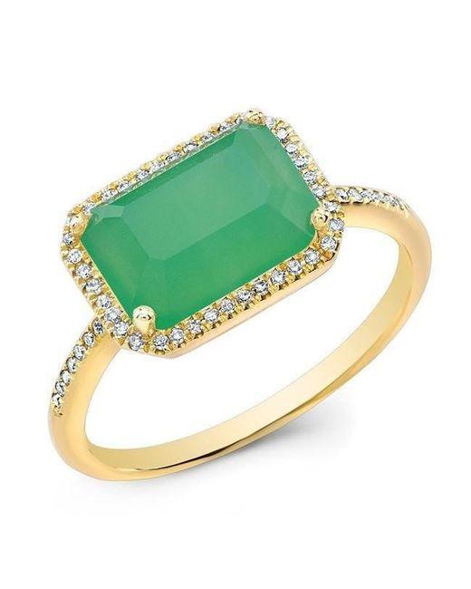 Anne Sisteron - Metallic 14kt Yellow Gold Chrysoprase Diamond Chic Ring - Lyst