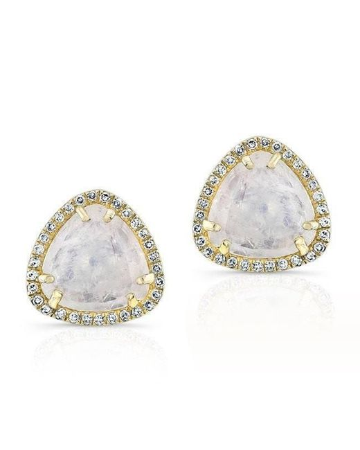 Anne Sisteron - Metallic 14kt Yellow Gold Moonstone Diamond Stud Earrings - Lyst