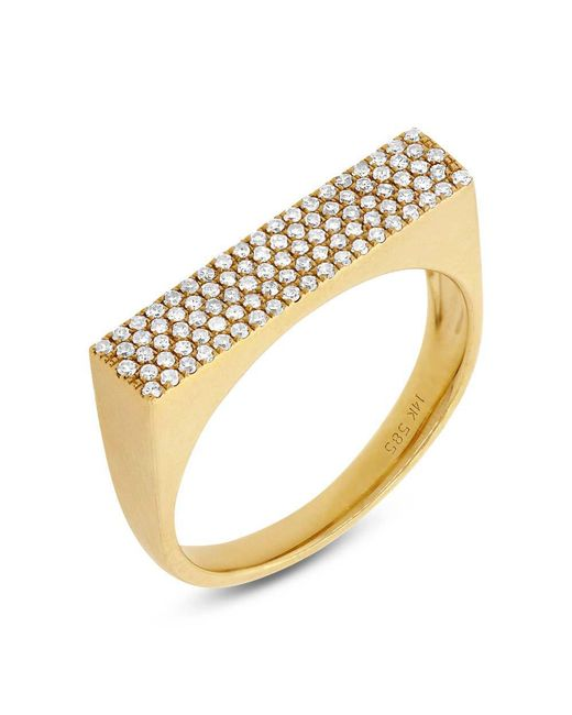 Anne Sisteron - Metallic 14kt Yellow Gold Diamond Brick Ring - Lyst