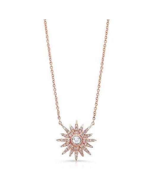 Anne Sisteron - Metallic 14kt Rose Gold Diamond Vintage Style Starburst Necklace - Lyst