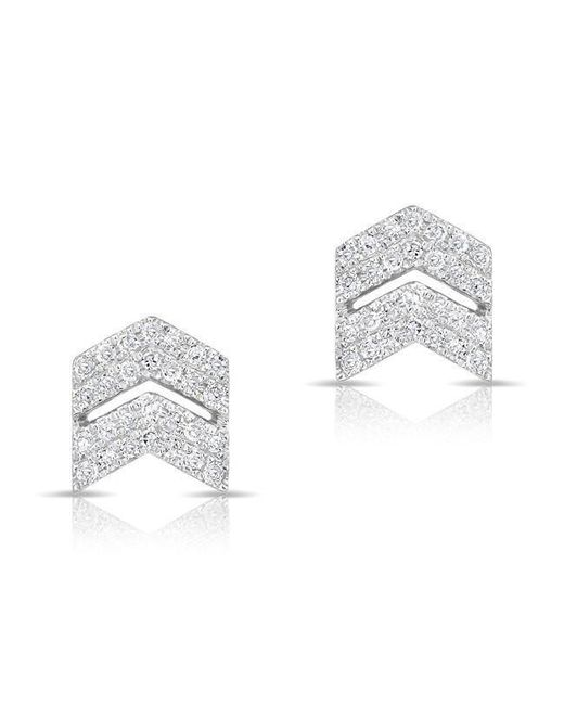 Anne Sisteron - Multicolor 14kt White Gold Diamond Double Maverick Chevron Diamond Stud Earrings - Lyst