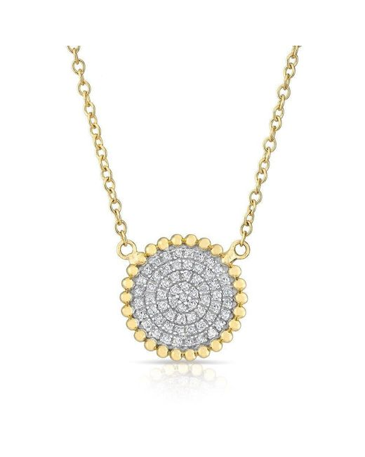 Anne Sisteron - Metallic 14kt Yellow Gold Diamond Large Scalloped Disc Necklace - Lyst