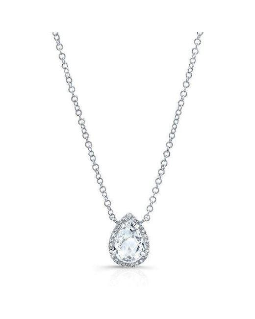 Anne Sisteron - Metallic 14kt White Gold Diamond White Topaz Pear Necklace - Lyst