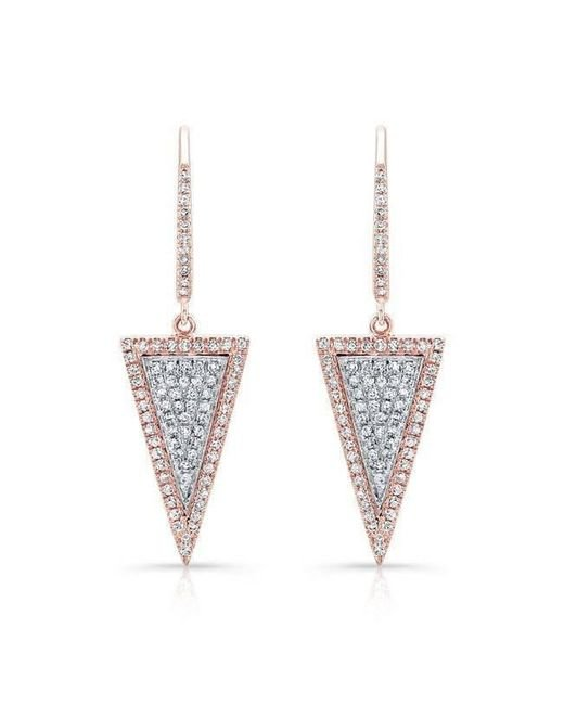 Anne Sisteron | Multicolor 14kt Rose And White Gold Diamond Triangle Earrings | Lyst