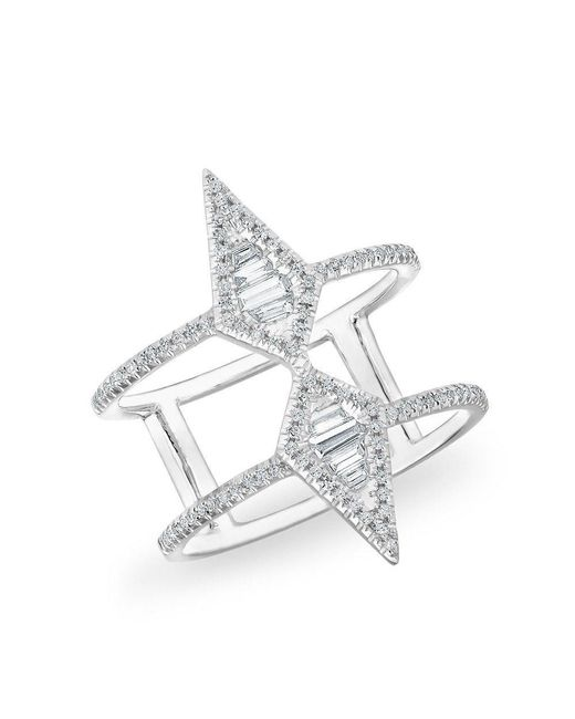 Anne Sisteron | Multicolor 14kt White Gold Baguette Diamond Double Spear Ring | Lyst