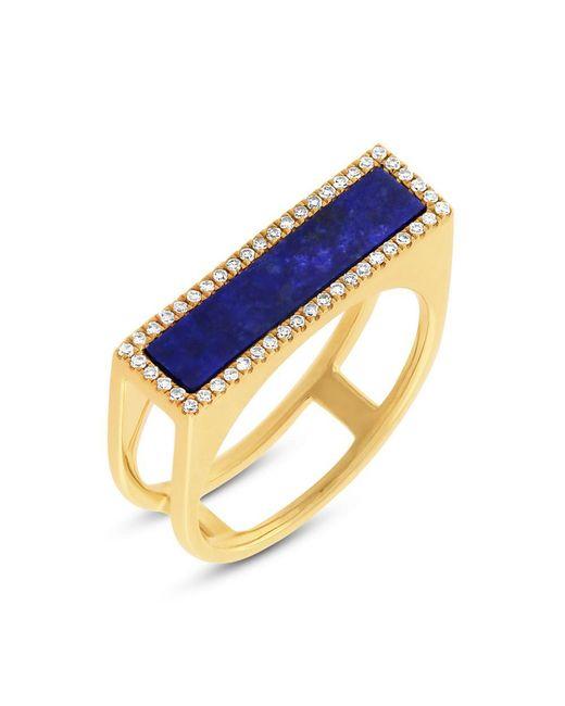 Anne Sisteron - Metallic 14kt Yellow Gold Lapis Lazuli Diamond Bar Ring - Lyst