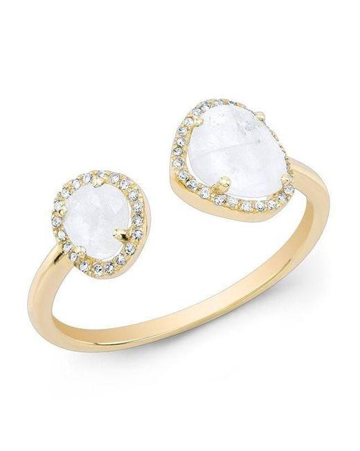 Anne Sisteron - Metallic 14kt Yellow Gold Moonstone Diamond Doublet Ring - Lyst