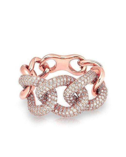 Anne Sisteron - Multicolor 14kt Rose Gold Luxe Diamond Chain Link Ring - Lyst