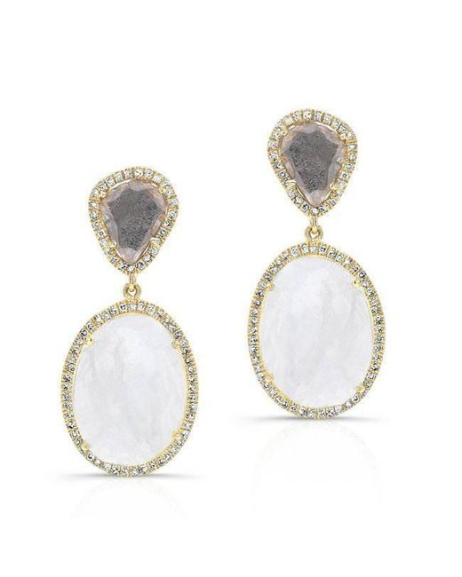 Anne Sisteron | Metallic 14kt Yellow Gold Organic Moonstone And Diamond Slice Earrings | Lyst