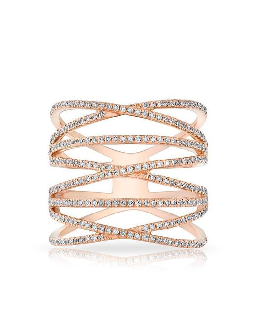Anne Sisteron - Multicolor 14kt Rose Gold Diamond Multiband Riverly Ring - Lyst