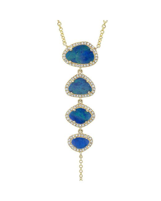 Anne Sisteron - Blue 14kt Yellow Gold Opal Diamond Lariat Necklace - Lyst