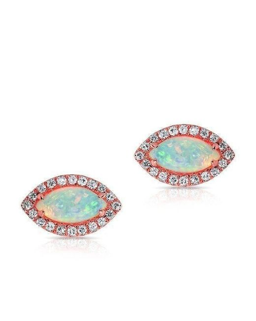 Anne Sisteron - Metallic 14kt Rose Gold Opal Diamond Mini Marquis Stud Earrings - Lyst