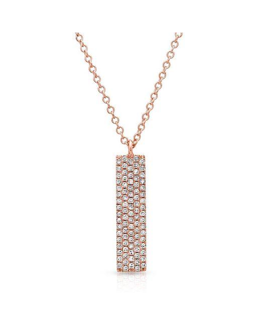 Anne Sisteron Multicolor 14kt Rose Gold Diamond Pave Bar Necklace