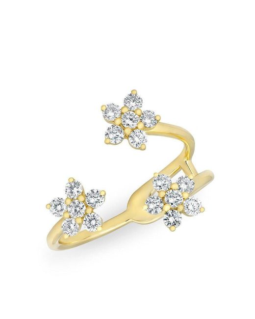 Anne Sisteron | Metallic 14kt Yellow Gold Diamond Triple Mini Flower Ring | Lyst