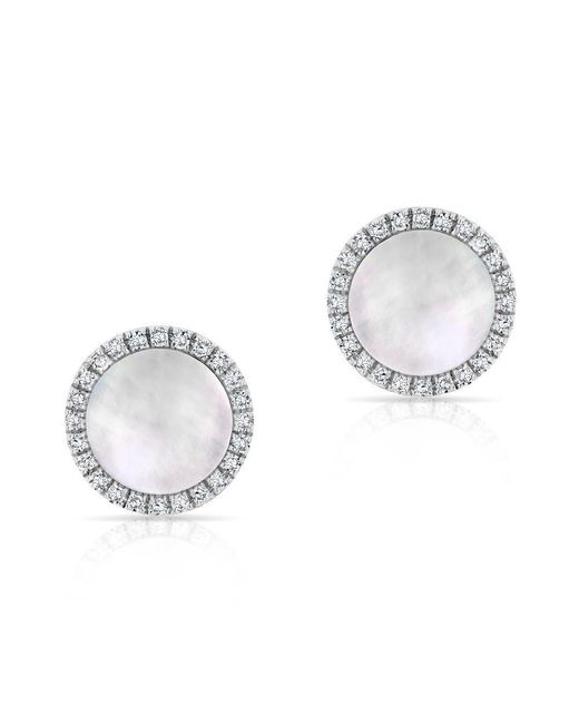 Anne Sisteron | Metallic 14kt White Gold Diamond Mother Of Pearl Disc Stud Earrings | Lyst