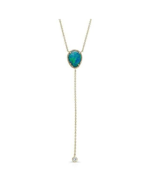 Anne Sisteron - Metallic 14kt Yellow Gold Opal Diamond Flirt Lariat Necklace - Lyst