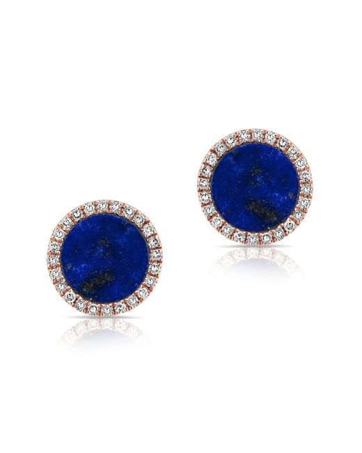 Anne Sisteron - Blue 14kt Rose Gold Lapis Diamond Disc Stud Earrings - Lyst