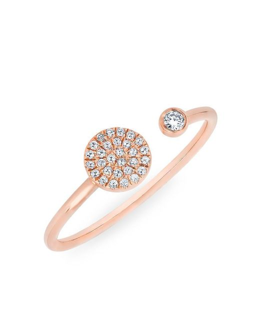 Anne Sisteron | Multicolor 14kt Rose Gold Diamond Disc And Bezel Ring | Lyst