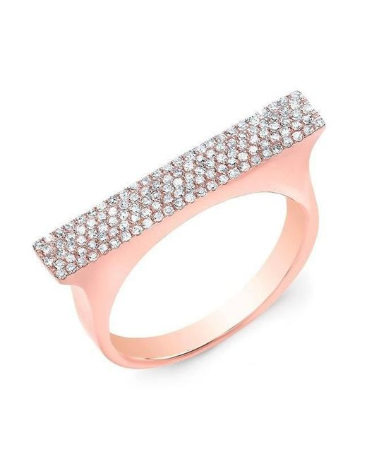Anne Sisteron - Pink 14kt Rose Gold Diamond Thick Bar Ring - Lyst