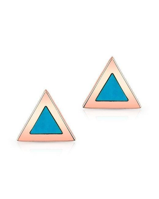 Anne Sisteron - Blue 14kt Rose Gold And Turquoise Triangle Stud Earrings - Lyst