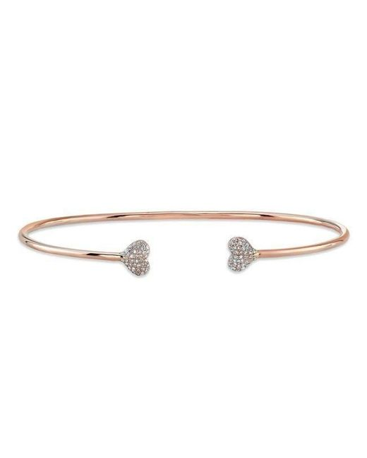 Anne Sisteron - Metallic 14kt Rose Gold Diamond Small Hearts Cuff - Lyst