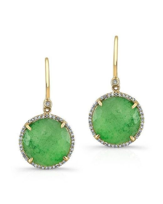 Anne Sisteron - Green 14kt Yellow Gold Jade Diamond Round Earrings - Lyst
