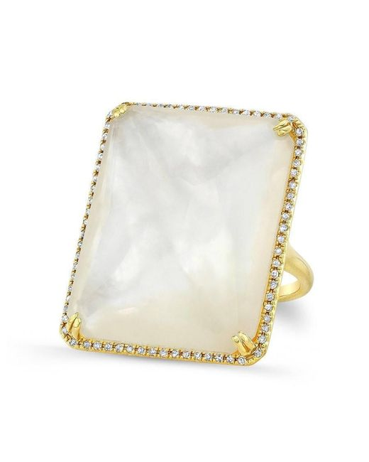 Anne Sisteron - Multicolor 14kt Yellow Gold White Mother Of Pearl White Topaz Diamond Rectangle Cocktail Ring - Lyst