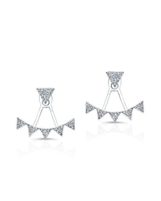 Anne Sisteron   Metallic 14kt White Gold Diamond Triangle Tiara Floating Earrings   Lyst