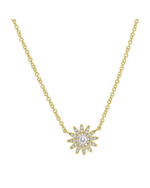 Anne Sisteron Metallic 14kt Yellow Gold Diamond Starburst Necklace