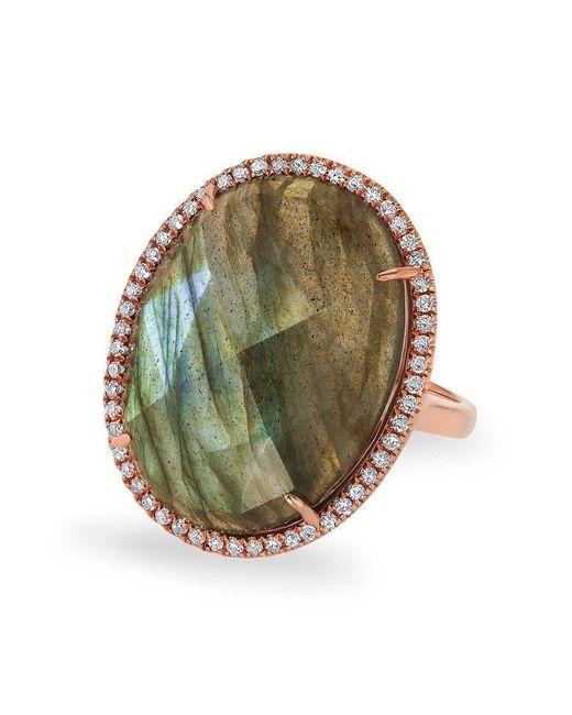 Anne Sisteron Metallic 14kt Rose Gold Labradorite Diamond Oval Cocktail Ring