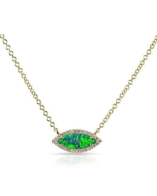 Anne Sisteron - Metallic 14kt White Gold Opal Diamond Mini Marquis Necklace - Lyst