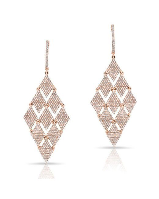 Anne Sisteron - Multicolor 14kt Rose Gold Diamond Triangle Chime Earrings - Lyst