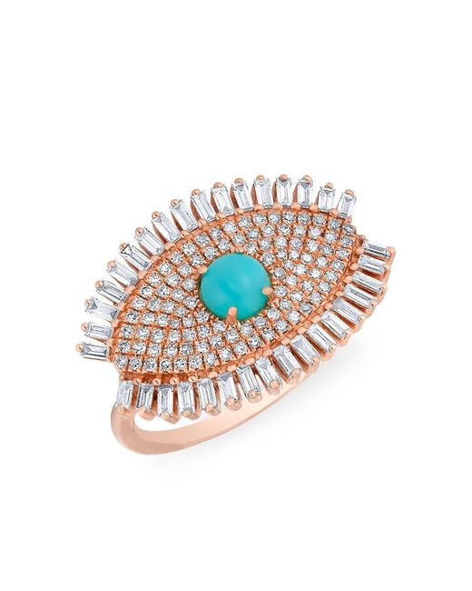 Anne Sisteron - Multicolor 14kt Rose Gold Baguette Diamond Turquoise Evil Eye Gypsy Ring - Lyst