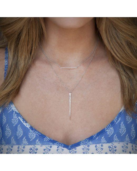 Anne Sisteron Metallic 14kt White Gold Diamond Thin Bar Necklace