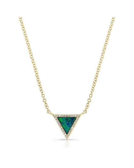 Anne Sisteron - Metallic 14kt Yellow Gold Opal Diamond Triangle Necklace - Lyst