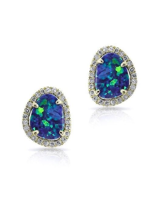 Anne Sisteron - Multicolor 14kt Yellow Gold Mini Organic Opal Diamond Stud Earrings - Lyst