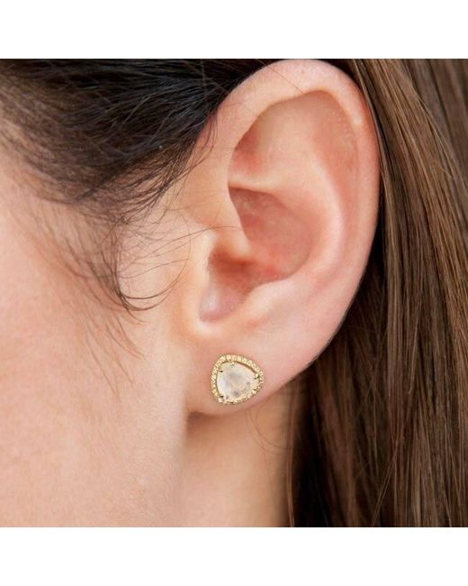 Anne Sisteron Metallic 14kt Yellow Gold Moonstone Diamond Stud Earrings