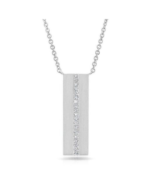 Anne Sisteron 14kt White Gold Diamond Plated Bar Necklace
