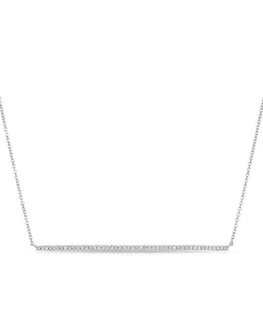Anne Sisteron - Metallic 14kt White Gold Diamond Long Thin Bar Necklace - Lyst