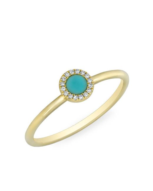 Anne Sisteron - Metallic 14kt Yellow Gold Diamond Turquoise Round Disc Ring - Lyst