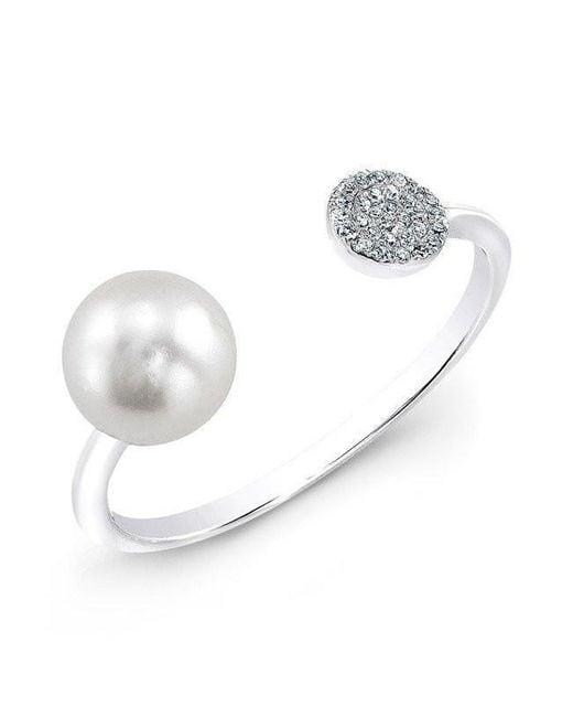 Anne Sisteron - 14kt White Gold Christina Pearl Diamond Disc Ring - Lyst