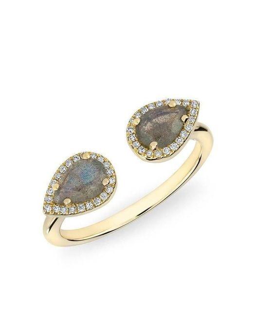 Anne Sisteron - Metallic 14kt Yellow Gold Labradorite Diamond Throne Ring - Lyst