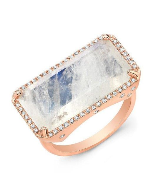 Anne Sisteron - Metallic 14kt Rose Gold Diamond Base Moonstone Ring - Lyst