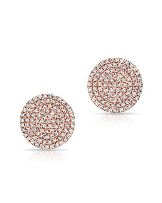 Anne Sisteron | Pink 14kt Rose Gold Diamond Luxe Disc Stud Earrings | Lyst