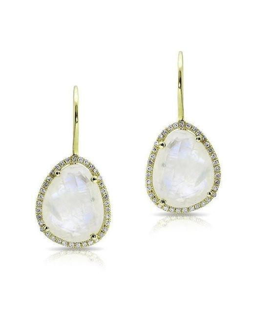 Anne Sisteron - Metallic 14kt Yellow Gold Moonstone Diamond Organic Shape Earrings - Lyst