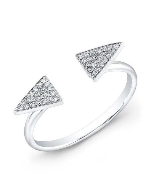 Anne Sisteron - Metallic 14kt White Gold Diamond Double Triangle Ring - Lyst