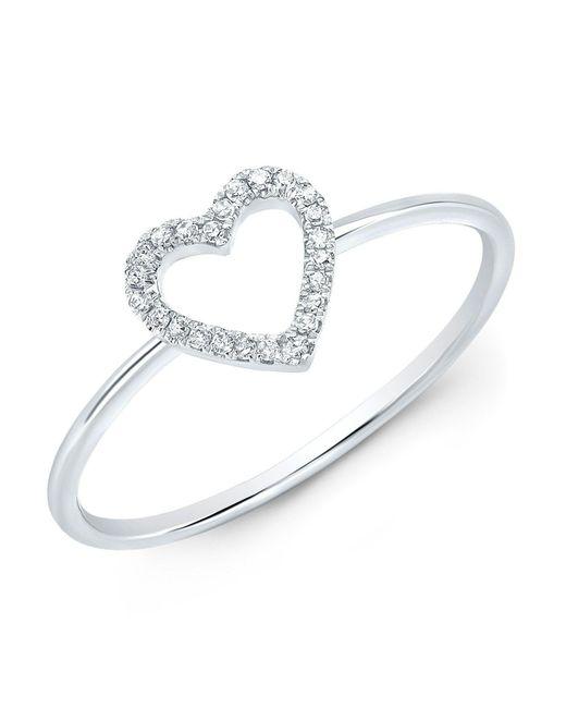 Anne Sisteron - Metallic 14kt White Gold Diamond Open Heart Ring - Lyst