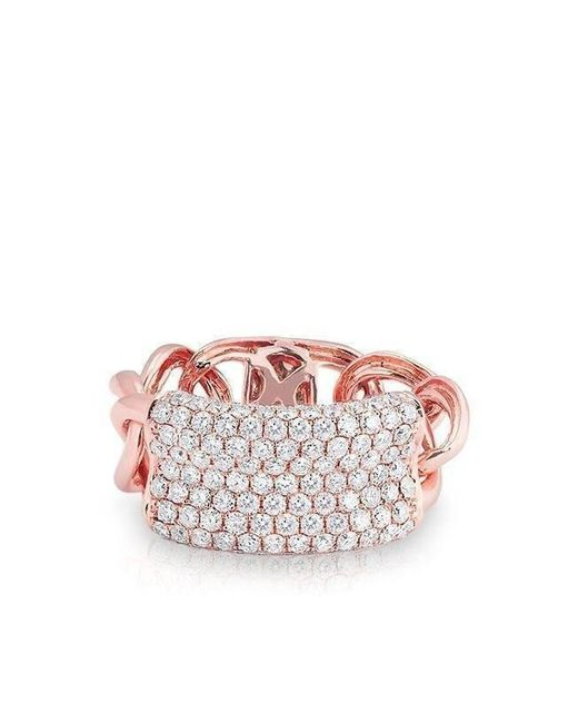 Anne Sisteron Multicolor 14kt Rose Gold Diamond Luxe Id Link Ring