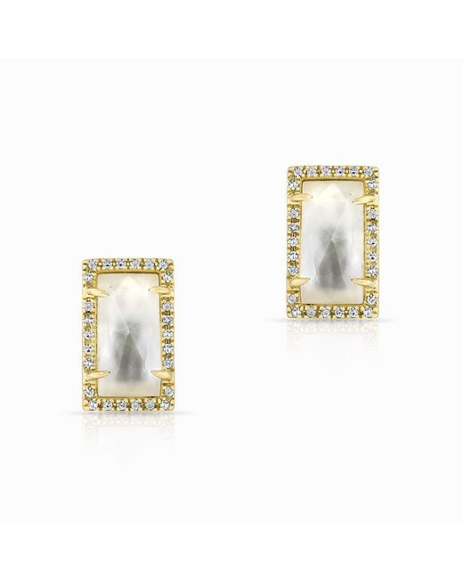 Anne Sisteron - Metallic 14kt Yellow Gold Diamond Mother Of Pearl Sara Stud Earrings - Lyst