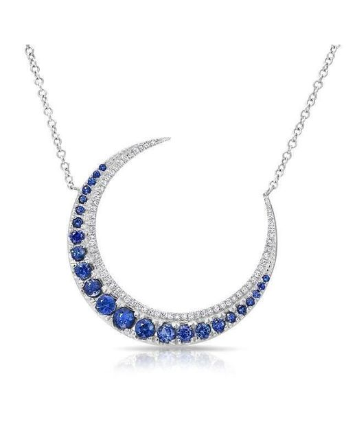 Anne Sisteron - Multicolor 14kt White Gold Sapphire Lunar Diamond Necklace - Lyst